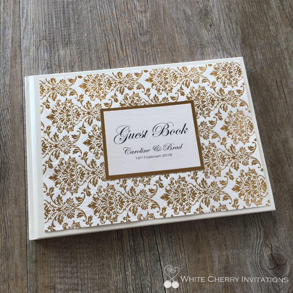 Princess Gold Foil Wedding Guest Book - White Cherry Invitations