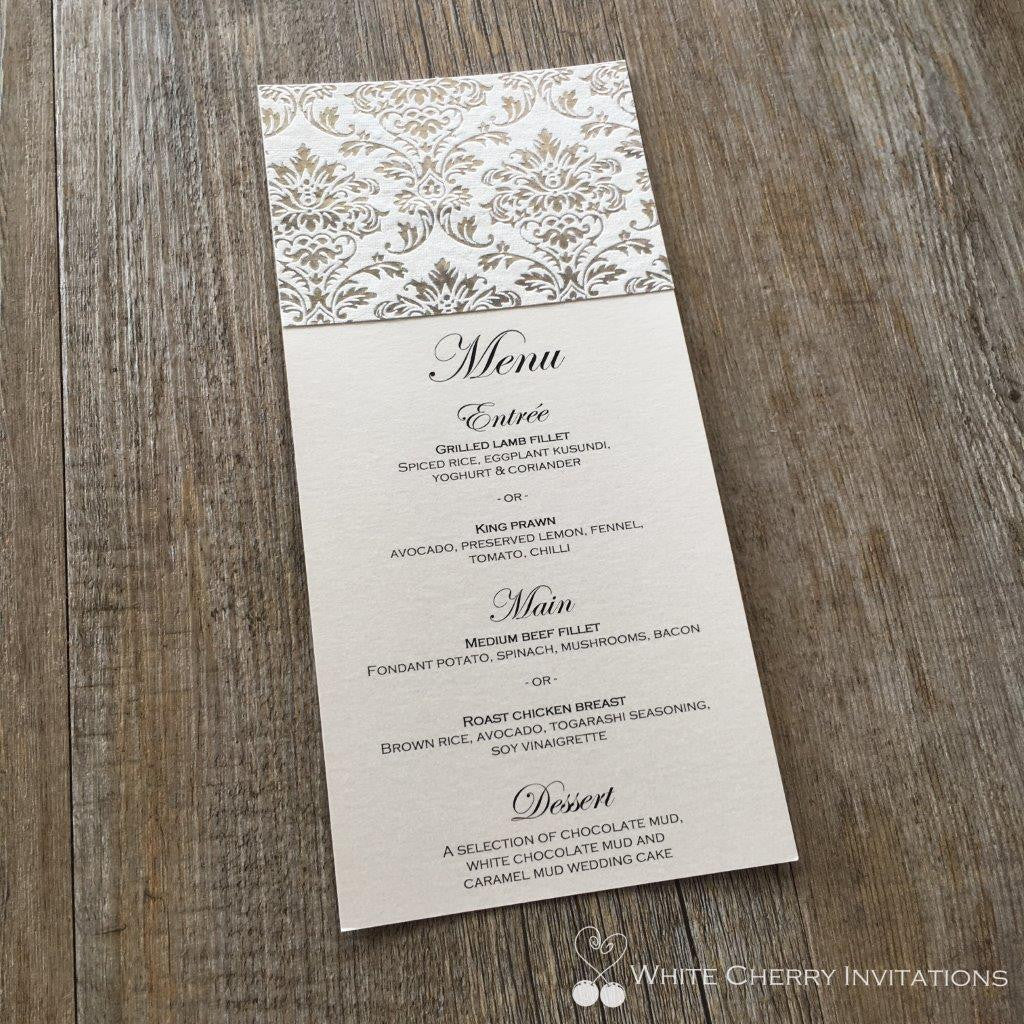 Princess Silver Foil Flat Wedding Menu - White Cherry Invitations