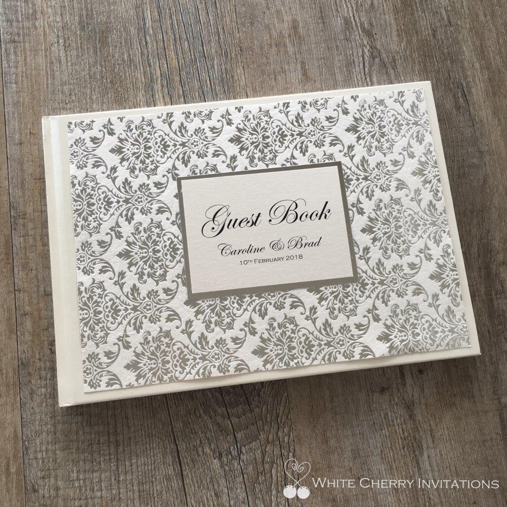 Princess Silver Foil Wedding Guest Book - White Cherry Invitations