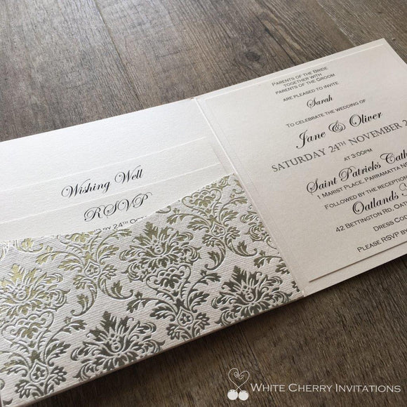 White Cherry Invitations - Princess Silver Wedding Invitation