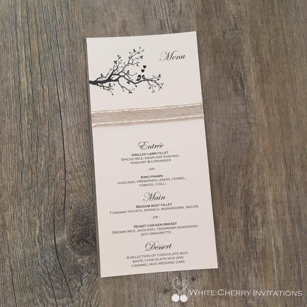 Two Birds Flat Wedding Menu - White Cherry Invitations