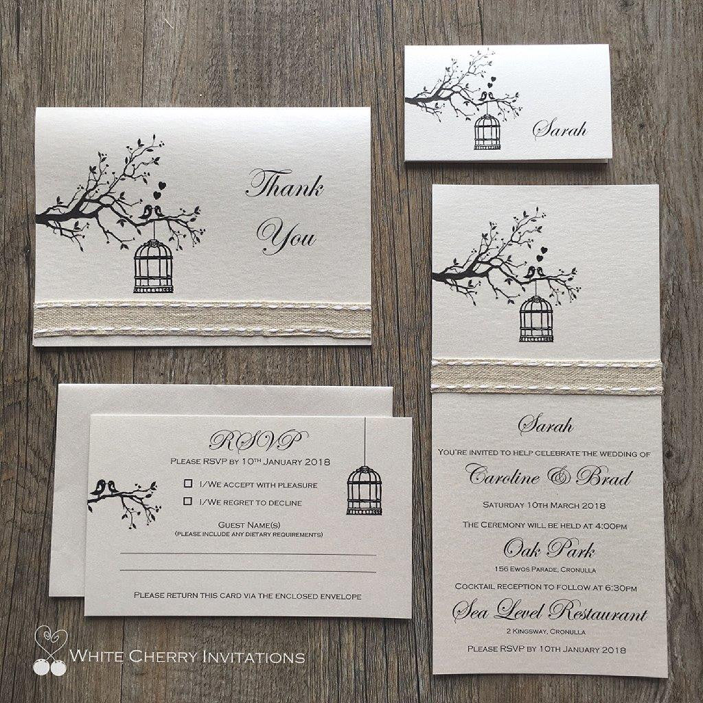 Save 15 20 off wedding invitation packages white cherry two birds classic package stopboris Choice Image