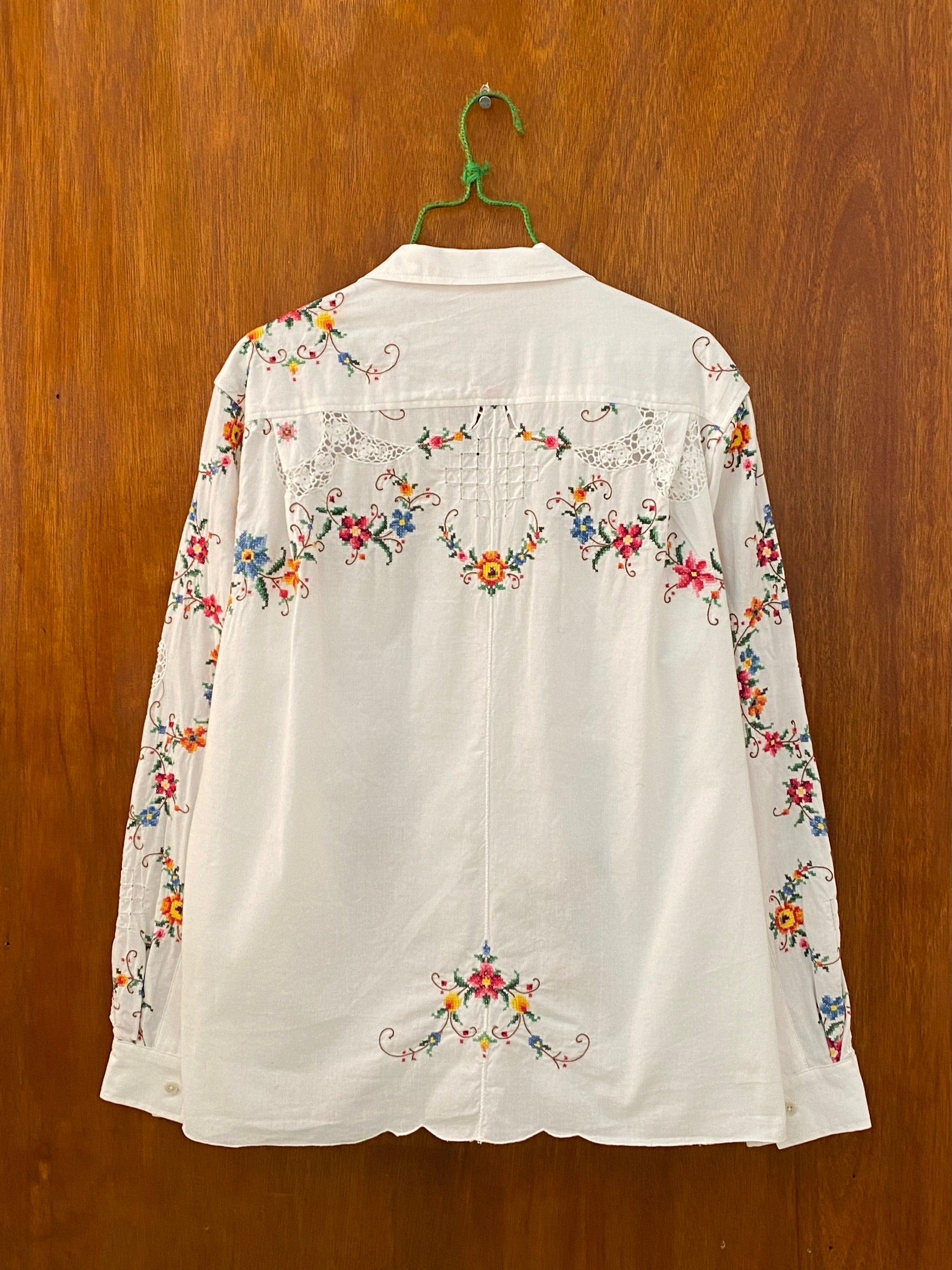 Floral Sleeve Cross-Stitch Shirt - M/L