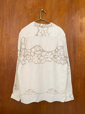 Taupe Floral Cross Stitch Shirt - L/XL