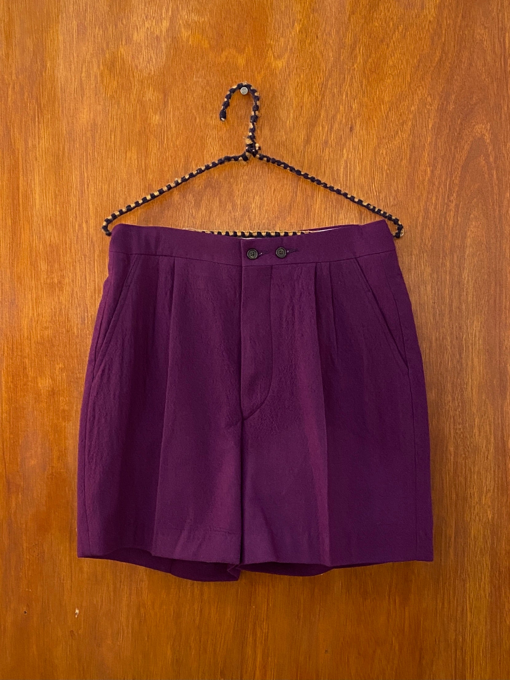Purple Wool Shorts