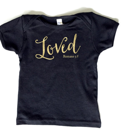 """Loved - Romans 5:8"" Black Tee ⎜ Size 18-24 Months"