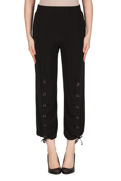 Button Detail Black Pants - 181075
