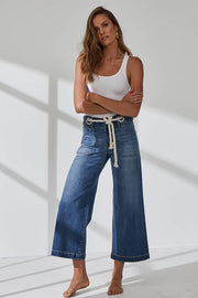 New London - Dorset Wide Leg Crop Jeans - Denim - Pizazz Boutique