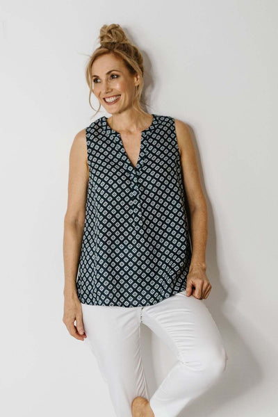 Goondiwindi Cotton Sleeveless V Neck Linen Shirt Navy- Pizazz Boutique
