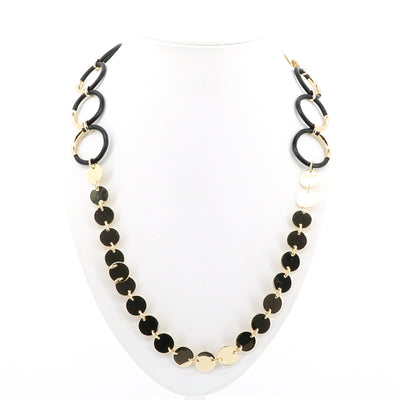 Adorne Disc Front Leather Ring Necklace Black & Gold - Pizazz Boutique