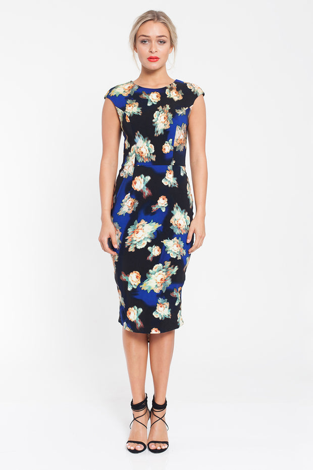 After Hours Navy Floral Print Dress