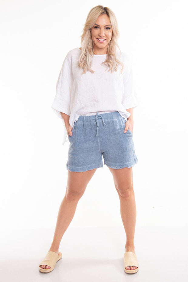 Asti Linen Shorts - Denim