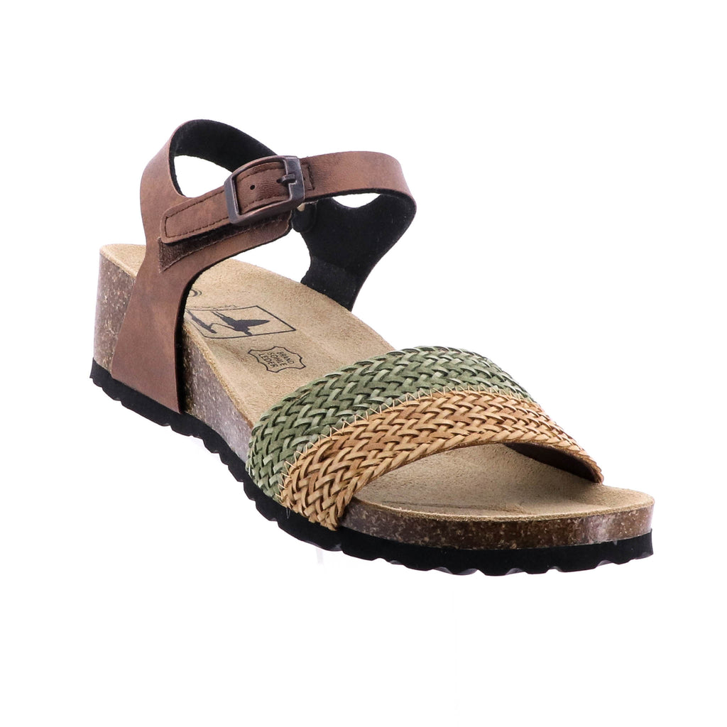 Byron Bay Shoe Co - Athena Sandal - Tan and Green - Pizazz Boutique