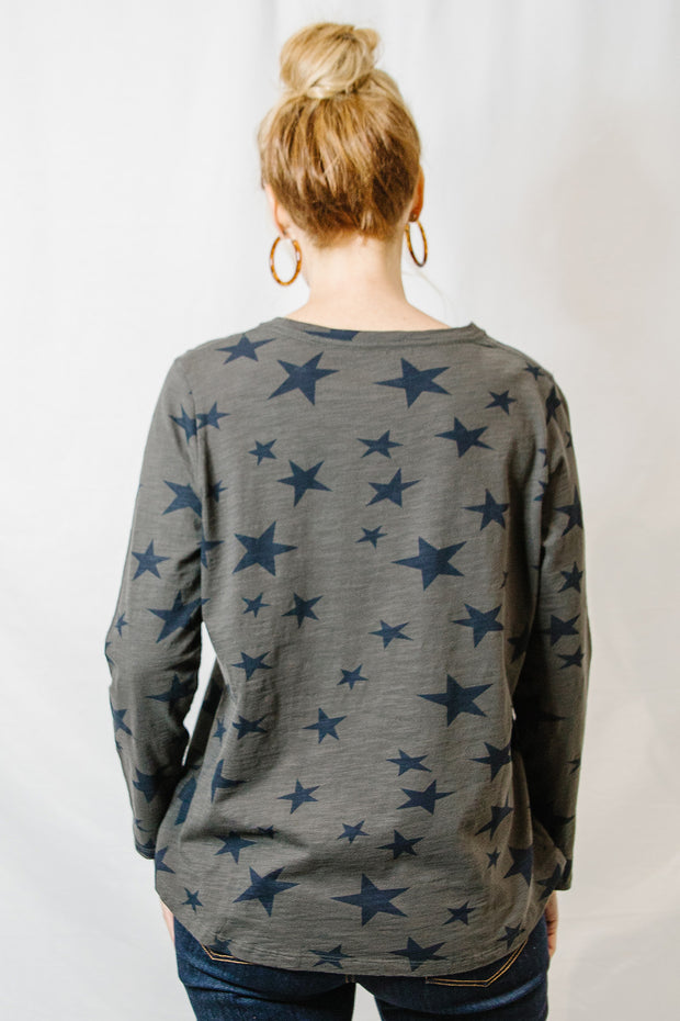 Long Sleeve Star Tee - Bark Navy