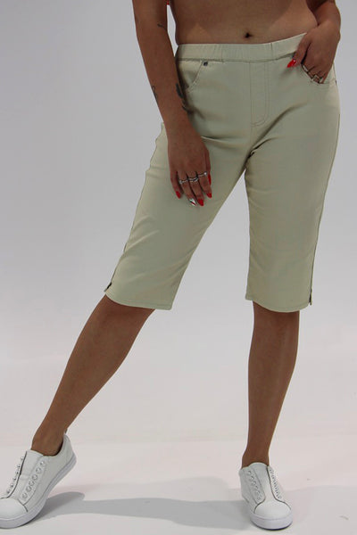 Stretch Pull On Jean Short - Beige