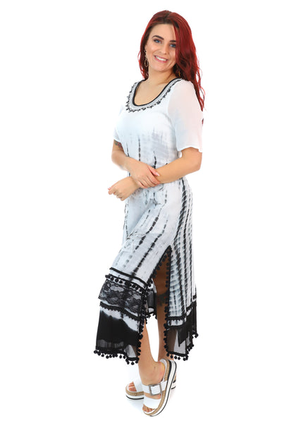 Caju - Dip Dye Maxi Dress - Black and White Dress - Pizazz Boutique -1