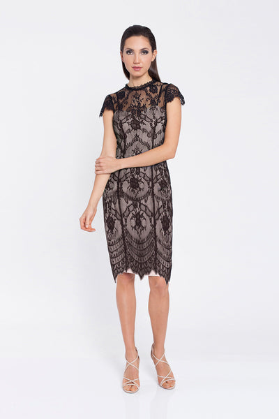 Romance Lace Dress Black Nude underlay