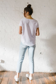 Cloth + Paper + Scissors White and Pale Pink Stripe Tee Pizazz Boutique