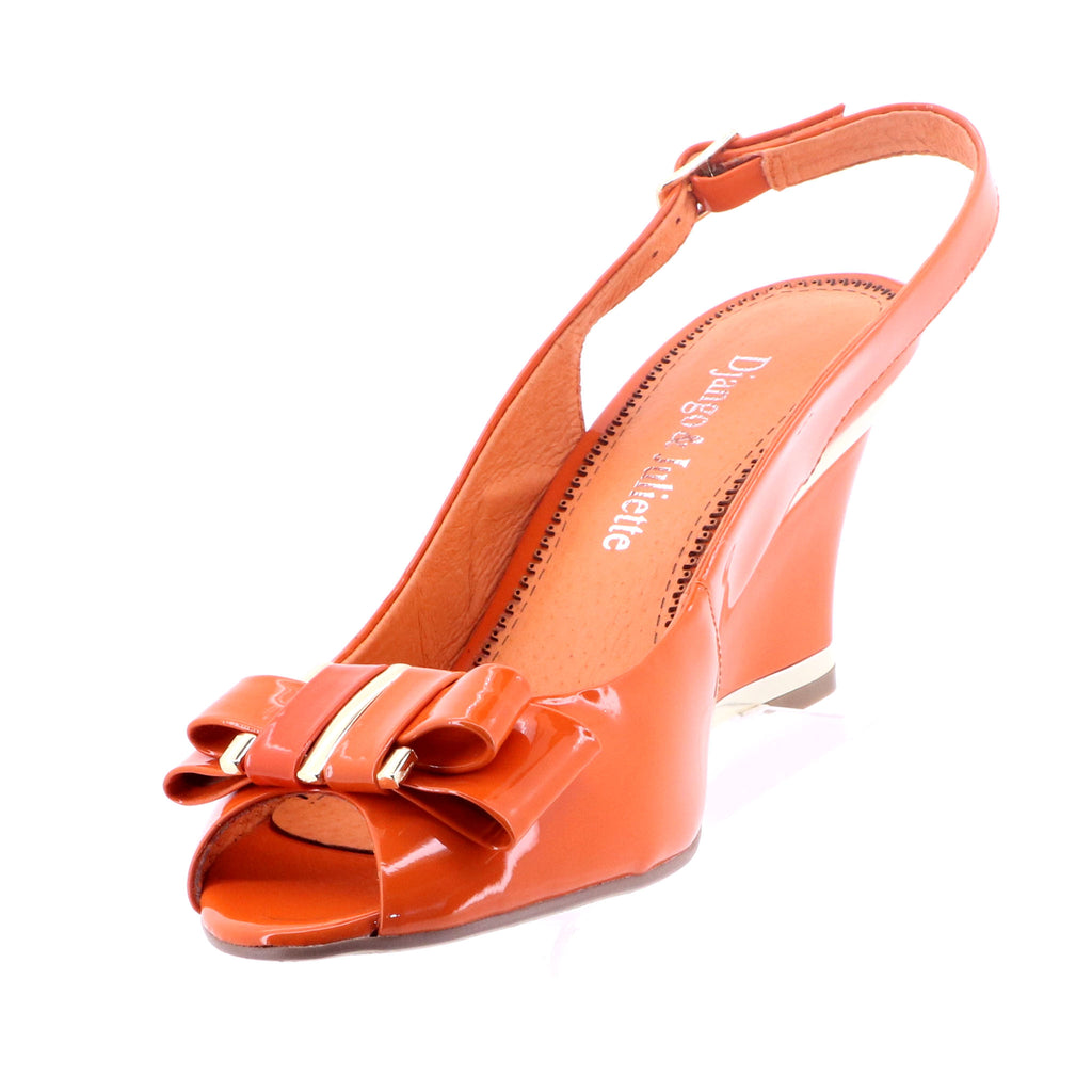 Django & Juliette - Evette Leather Heels - Orange - Pizazz Boutique