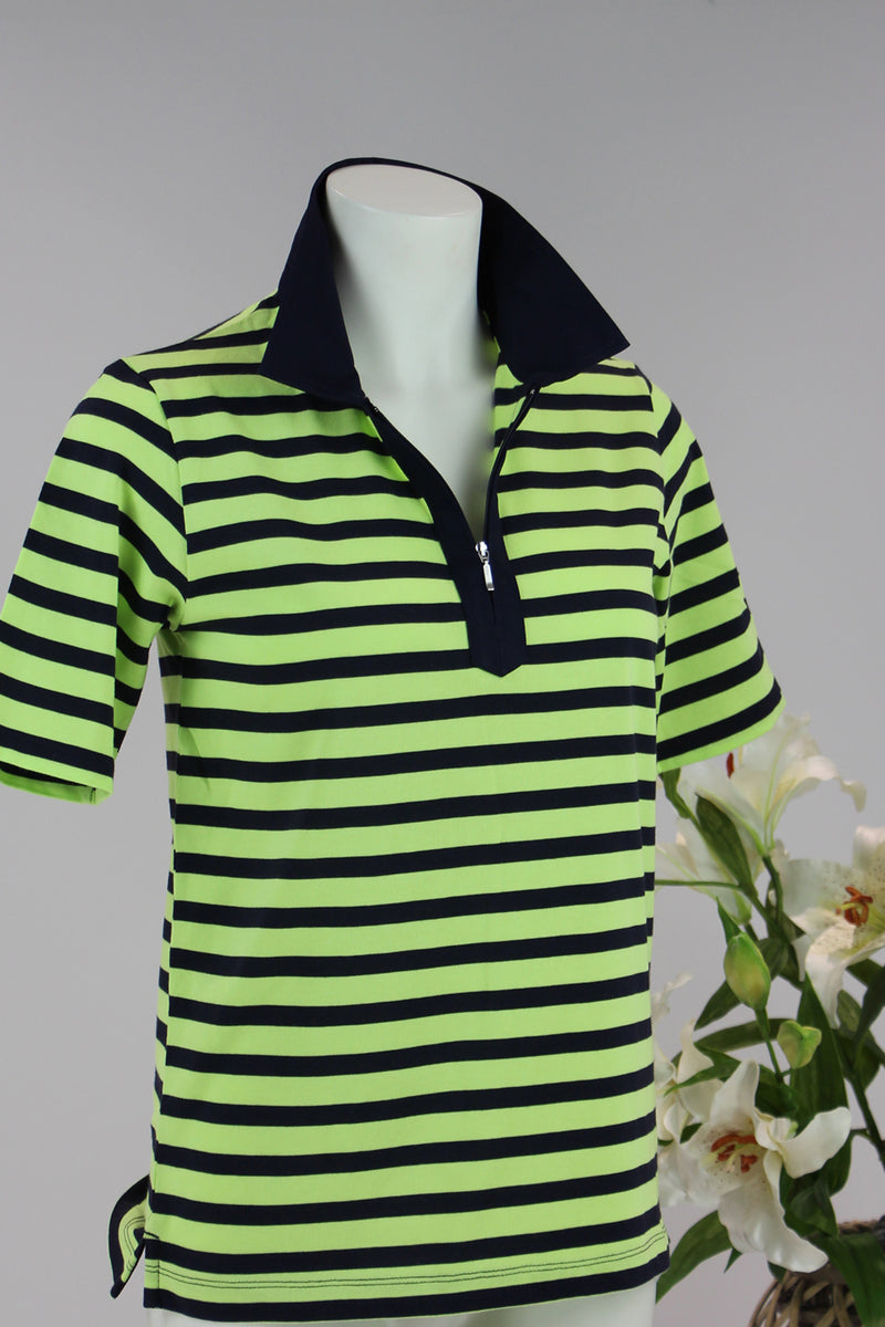 Goondiwindi - Stripe Zip Front Polo - Navy Lime - Pizazz Boutique