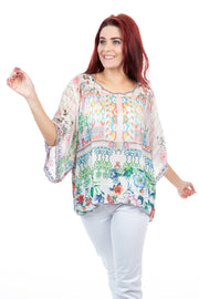 Johnny Was - Lenora Cropped Top - Silk Floral Top - Pizazz Boutique