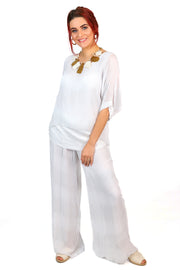 Jenny Jazz - Primadonna Shimmer Top - White Stripe - Pizazz Boutique