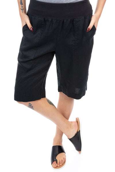 Gordon Smith - Jersey Waist Linen Shorts - Black - Pizazz Boutique