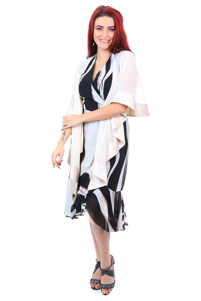 Jendi Shawl Satin Binding Oyster - Sheer Cape Throw - Pizazz Boutique