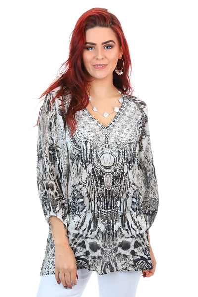 Fashion Spectrum - Caicos Gypsy Top - Black Silk Top - Pizazz Boutique