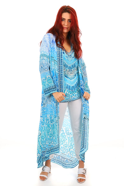 Fashion Spectrum - Luna Long Silk Coat - Blue Kimono - Pizazz Boutique
