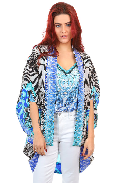 Fashion spectrum - Zebra Short Cape - Blue Silk - Pizazz Boutique
