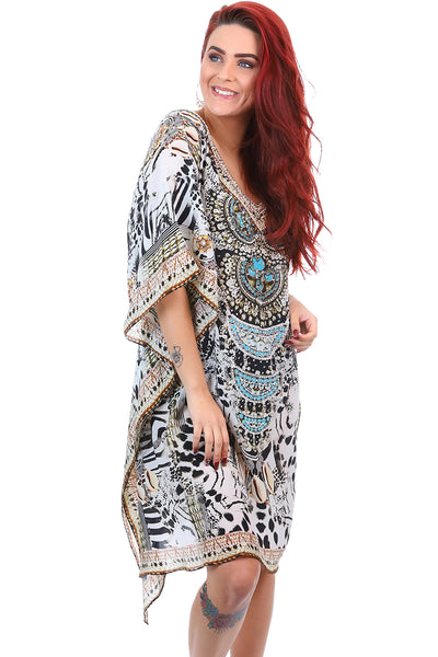 Fashion Spectrum - Kalpony Short Kaftan - Silk Dress - Pizazz Boutique