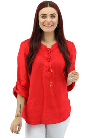 Ping Ping - 3/4 Sleeve Lace Up Top - Red - 475305  - Pizazz Boutique