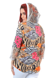 Berlin - Zambezi Hoody B1133 - Animal Floral Print - Pizazz Boutique
