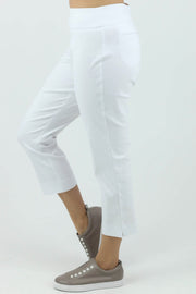 Marco Polo - Cropped Split Pant - White - Pizazz Boutique