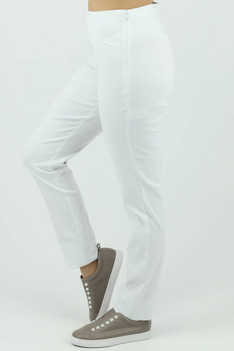 Marco Polo - Full Length Slim Pant - White - Pizazz Boutique