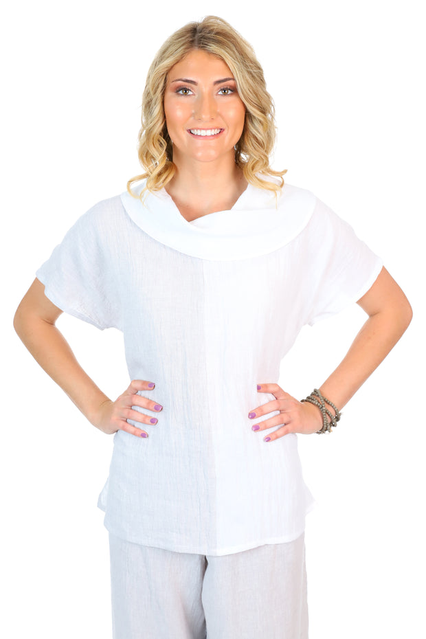 A linen cowl neck top with shorts sleeves and half grey, half white bodice.