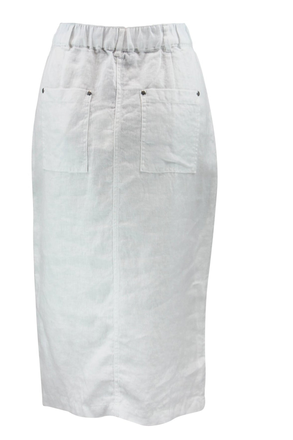 White Linen Zip Front Skirt - Style No:  435600