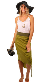 Ribbed Waist Drawstring Skirt - Fig