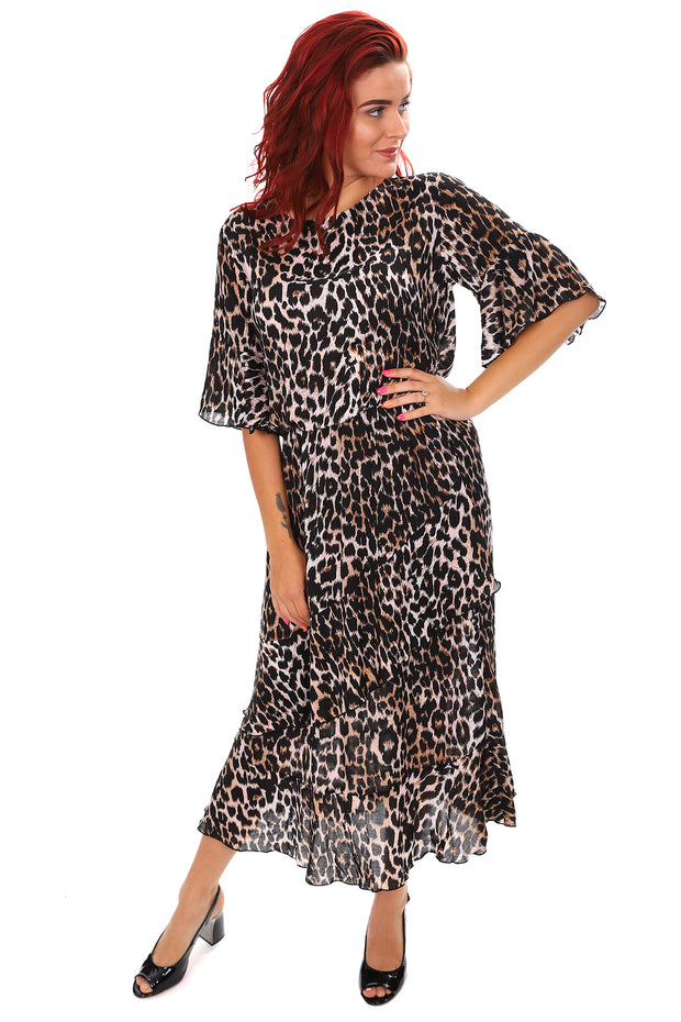 Wild Thrill Frills Dress - Leopard