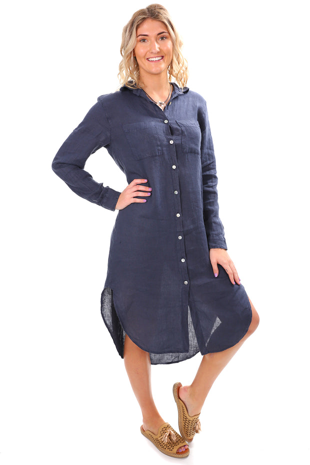 Sally Linen Dress - Blue