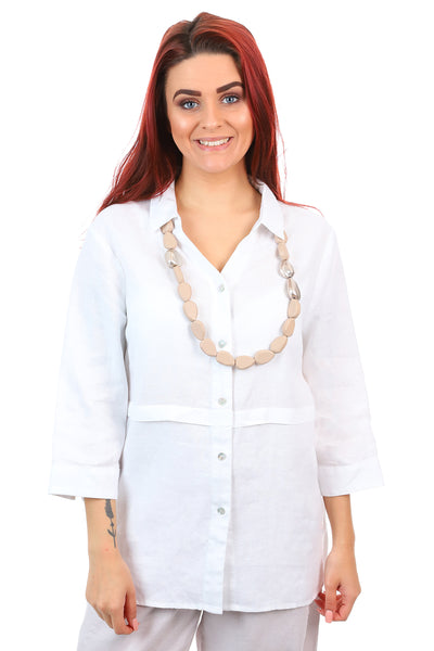 See Saw - 3/4 Sleeve Collared Pleat Shirt - White - Pizazz Boutique