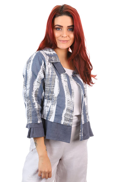 See Saw - Spliced 2 Button Jacket - Abstract - Linen - Pizazz Boutique