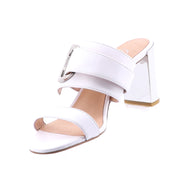 Isabella - Justo Heel - White Leather Shoes - Silver - Pizazz Boutique