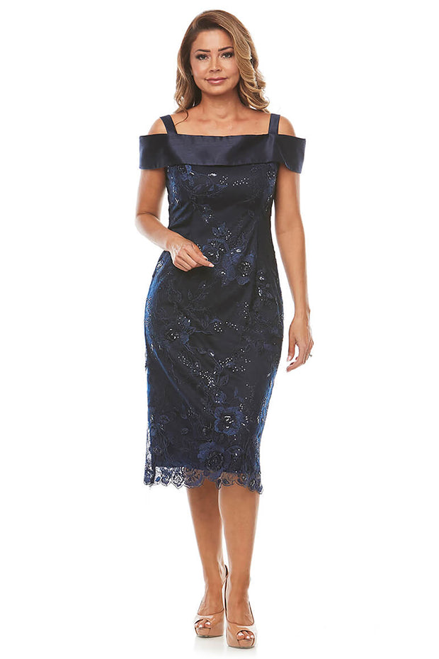 Cold Shoulder Lace Dress - Midnight
