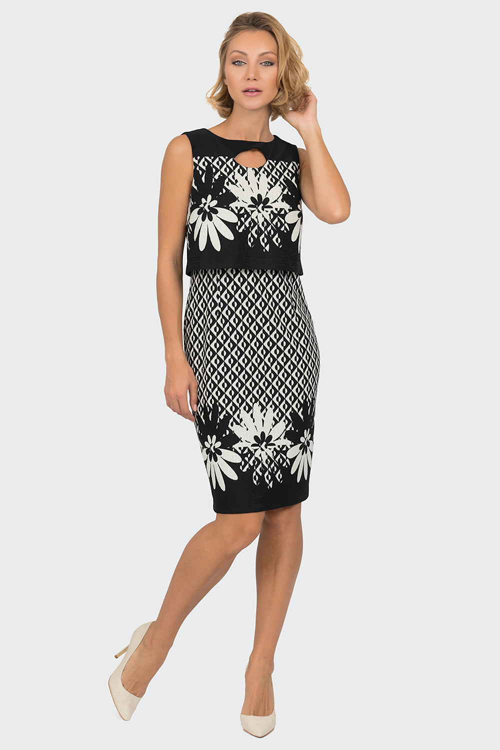 599f76bf8d32 Joseph Ribkoff - James Dress - Black and White - Pizazz Boutique