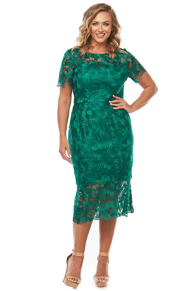Layla Jones - Sally Dress - Jade Green - Floral Lace - Pizazz Boutique