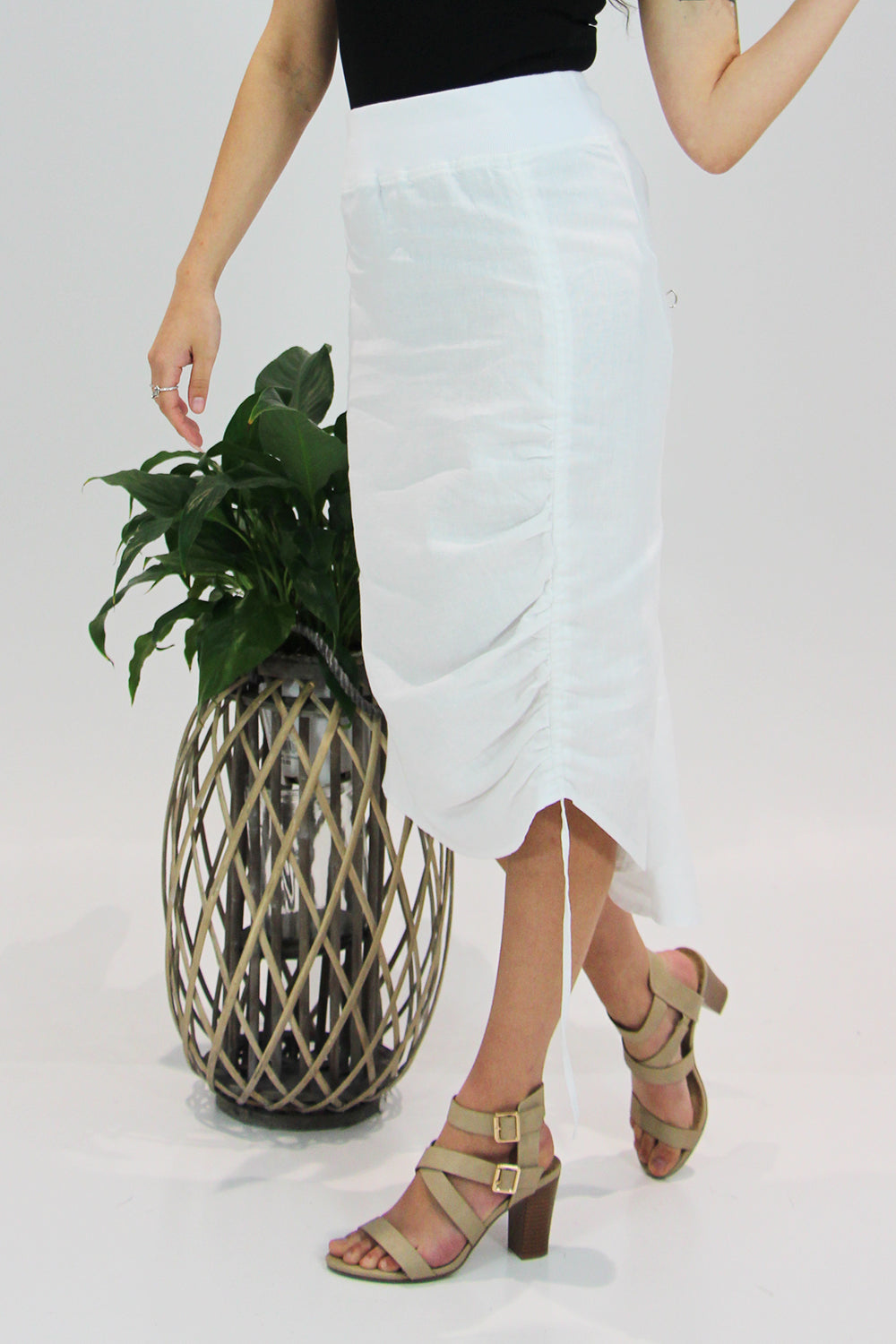 See Saw - Linen Draw String Skirt - White - Pizazz Boutique