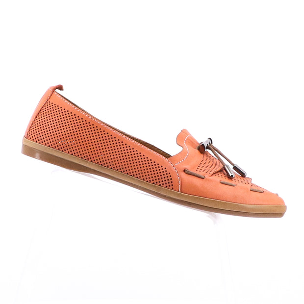 Whip Leather Flats - Coral