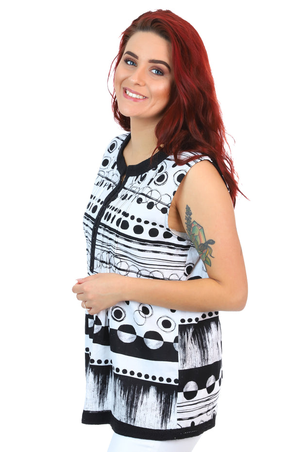 Marco Polo - Sleeveless Cityscape Top - Cotton Shirt - Pizazz Boutique _4